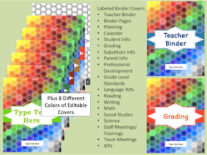 http://www.teacherspayteachers.com/Product/Rainbow-Hexagon-Editable-Teacher-Binder-and-Organizer-1326490